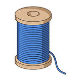A reel of blue thread.Sewing or tailoring tools kit single icon in cartoon style rater,bitmap symbol stock illustration. Royalty Free Stock Photography