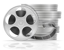 Reel with cinema film stock vector illustration. Isolated on white background Royalty Free Stock Photo