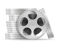 Reel with cinema film stock vector illustration. Isolated on white background Royalty Free Stock Images