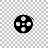 Reel film icon flat. Reel film. Black flat icon on a transparent background. Pictogram for your project vector illustration