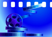 Reel of film on a blue background vector illustration