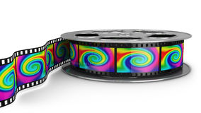 Reel of film with color pictures Stock Image