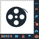 Reel film icon flat. Reel film. Perfect icon with bonus simple icons stock illustration