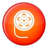 Reel with film icon, flat style Royalty Free Stock Photo