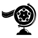 Reel film icon, simple black style. Reel film icon. Simple illustration of reel film vector icon for web Royalty Free Stock Photos