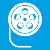 Reel with film icon white. Isolated on blue background vector illustration Royalty Free Stock Photo