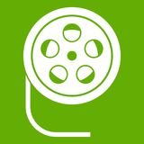 Reel with film icon green. Reel with film icon white isolated on green background. Vector illustration Stock Photos