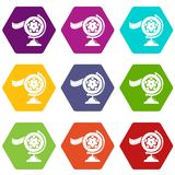 Reel film icons set 9 vector. Reel film icons 9 set coloful isolated on white for web Royalty Free Stock Photography