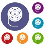 Reel with film icons set. In flat circle reb, blue and green color for web Stock Photos
