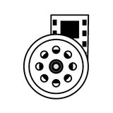 Reel film movie wheel icon outline. Vector illustration eps 10 Stock Photos