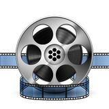 Reel of film strip 3d, realistic vector. Isolated on white stock illustration