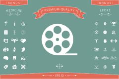 Reel film symbol icon. Signs and symbols - graphic elements for your design Stock Images