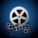 Reel of film. Film reel and twisted cinema tape on blue background, illustration Stock Image