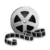Reel of film. Film reel and twisted cinema tape  on white background, illustration Stock Image