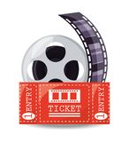 Reel filmstrip with ticket to short film. Vector illustration Royalty Free Stock Photo