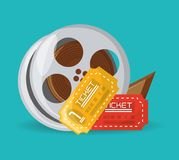 Reel filmstrip with tickets to short film. Vector illustration Stock Photography