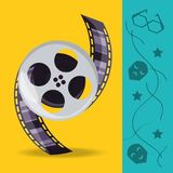 Reel with filmstrips to cinematography production. Vector illustration Stock Image