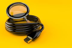Reel of HDMI cable with magnifying glass. Isolated on orange background. 3d illustration vector illustration