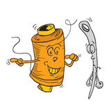 Reel and needle cartoon. Doodle on white vector illustration
