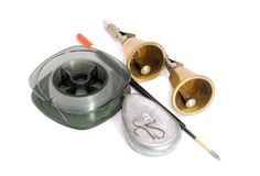 Reel Of Fishing Line, Float, Sinker And Bells Stock Photos