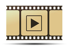Reel with play icon. Illustration of reel with play icon on white background Royalty Free Stock Images