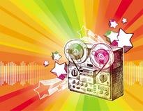 Reel recorder & retro stars. Reel recorder & retro stars - Illustration is stylised under  hand drawing Stock Photos