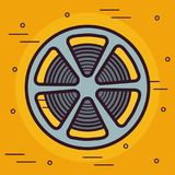 Reel tape icon. Film tape reel icon over yellow background colorful design vector illustration Royalty Free Stock Photos
