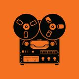 Reel tape recorder icon. Orange background with black. Vector illustration royalty free illustration