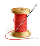 Reel with thread and needle. Illustration isolated on white background Royalty Free Stock Image
