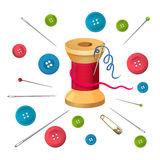 Reel with threads surrounded by pins and needles, buttons vector illustration Stock Image