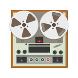 Reel-to-reel recorder with cassette tape cartridges. stock illustration
