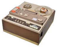 Reel to reel tape recorder. 1960's stereo reel to reel tape recorder with valve based amplifiers. Covered wooden cabinet, coffee coloured bakelite cover Stock Image