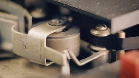 Close-up of the old reel-to-reel tape recorder