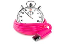 Reel of USB-C cable with stopwatch. Isolated on white background. 3d illustration stock illustration