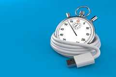Reel of USB cable with stopwatch. Isolated on blue background. 3d illustration vector illustration