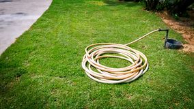 Reel of Water Hose on the Green Grass Field in the Garden. Near the Walkway Stock Photography