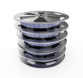 Reels. 3d illustration of film reel stack isolated on white background Stock Photography