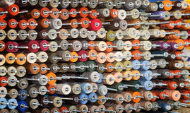 Reels with colorful threads Royalty Free Stock Images