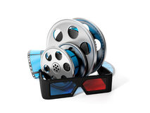 Reels of film and 3D glasses Stock Image
