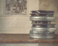Reels of film lie on the shelf Royalty Free Stock Image