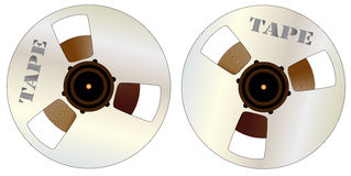 Reels of Magnetic Tape. 2 typical reels of studio mastering tape Royalty Free Stock Images