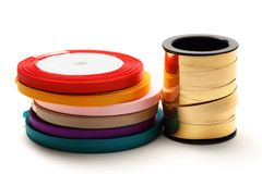 Reels of ribbon Stock Images