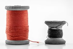 Reels or spools of multicolored sewing threads. Threads of all c Royalty Free Stock Images