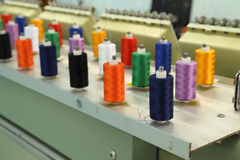 Reels of thread. On Machine embroider Royalty Free Stock Images