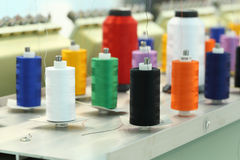 Reels of thread. On Machine embroider Stock Photography