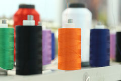 Reels of thread. On Machine embroider Royalty Free Stock Photos