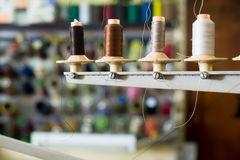Reels of threads in sewing shop Royalty Free Stock Photos