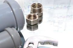 Reemplazo de los accesorios de la fontanería Imagen de archivo libre de regalías