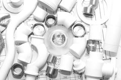 Reemplazo de los accesorios de la fontanería Fotografía de archivo libre de regalías