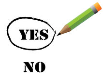 Reen pencil choosing yes Royalty Free Stock Photo